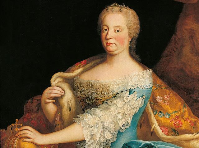 Maria Theresia als ungarische Königin mit Hermelinmantel sowie Erzherzoghut und Hauskrone. Martin van Meytens, um 1750