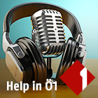 Kopfhörer und Mikrofon und das Ö1-Logo