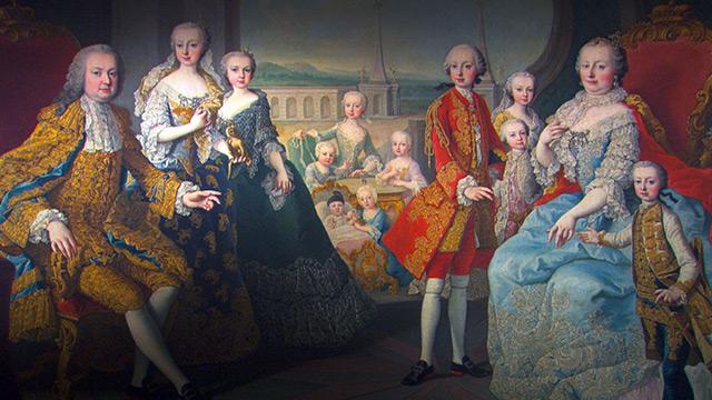 Maria Theresia und Familie auf historischem Gemälde