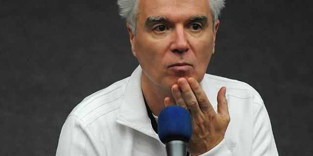 """David Byrne speaks with fans after the presentation of his 1986 film """"True Stories"""", during the Estoril Film Festival in Estoril"""
