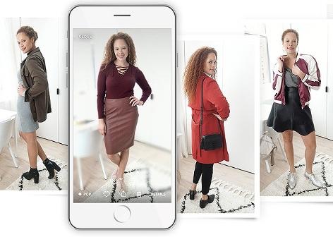 Frau in wechselnden Outfits vor der Echo Look Kamera
