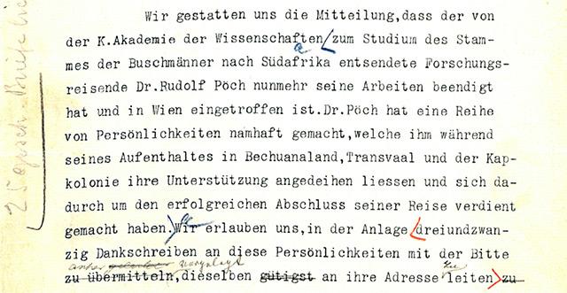 Altes Dokument: Empfehlungsschreiben des k.u.k. Ministeriums des Äußeren