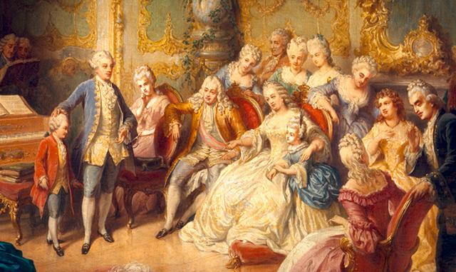 Mozart als 6 jähriger Knabe bei Maria Theresia im Spiegelsaal in Schloss Schönbrunn.