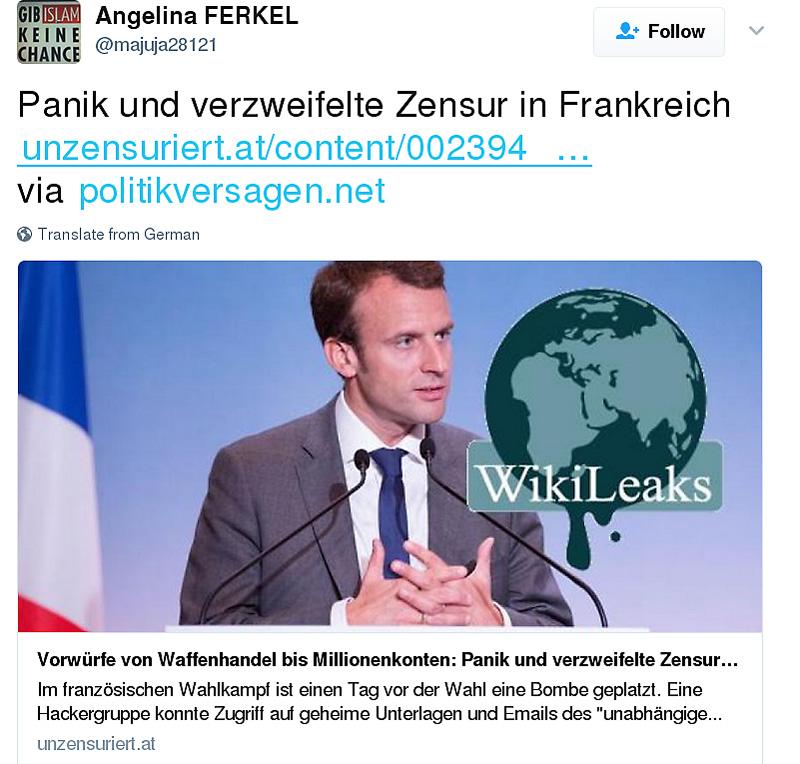 Screenshots zur Macron Leaks Kampagne