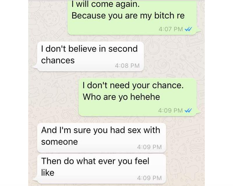 Beleidigender Chat mit einer Frau