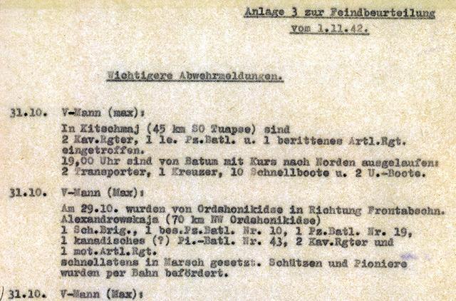 Max-Meldungen als Anlage zur Kurzen Feindbeurteilung der Abteilung Fremde Heere Ost, 11. November 1942 (Bundesarchiv, Freiburg i. Br.)