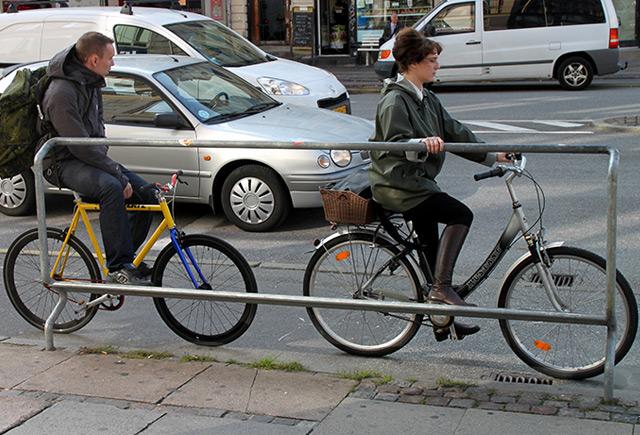 Anhaltestelle für Radfahrer in Kopenhagen