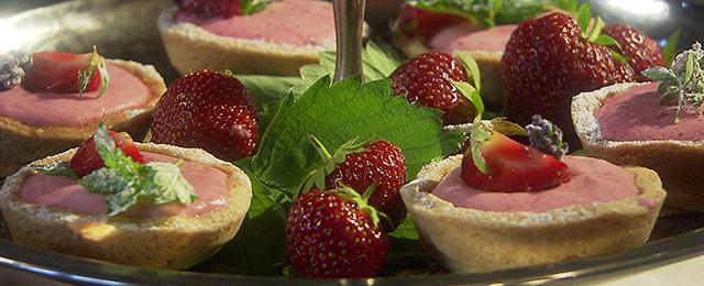 Mürbteigtartelettes mit Joghurt-Erdbeermoussefüllung