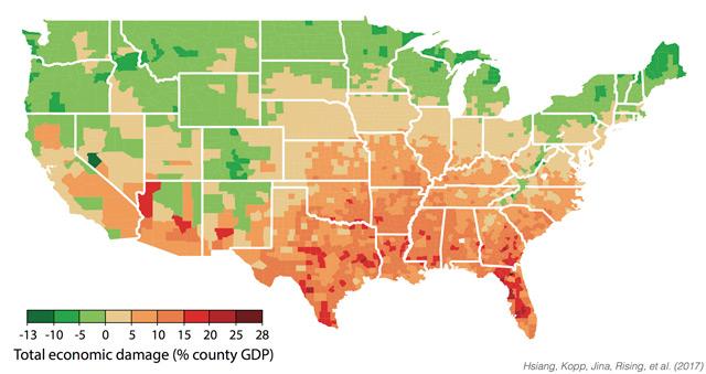 Grafik zu den wirtschaftlichen Folgen des Klimawandels in den USA