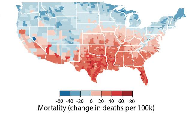 Grafik zu den Todesfälle in den USA durch den Klimawandel