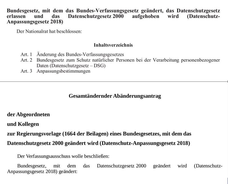 Screenshots aus Gesetzesanträgen