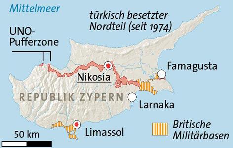 Karte des geteilten Zypern