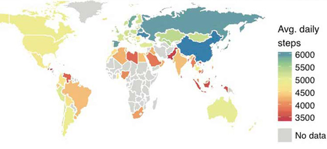 Grafik zu den durchschnittlichen Schritten pro Tag weltweit