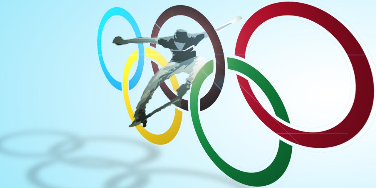 Skater und olympische Ringe