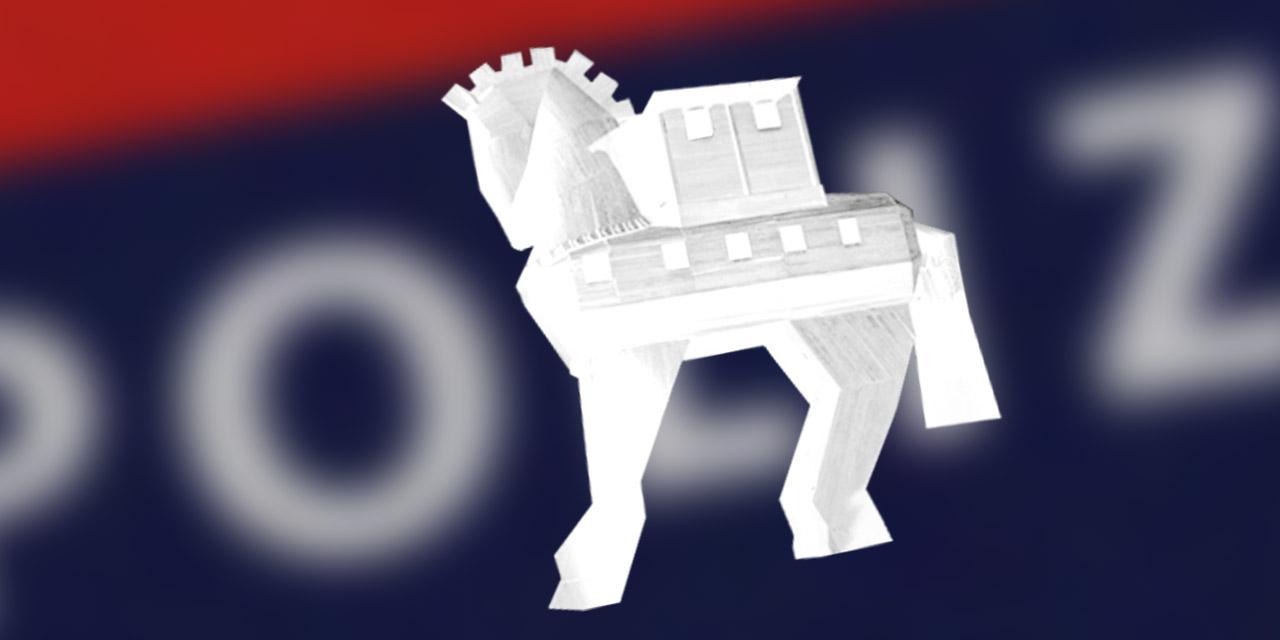Trojanisches Pferd und Schriftzug der Polizei