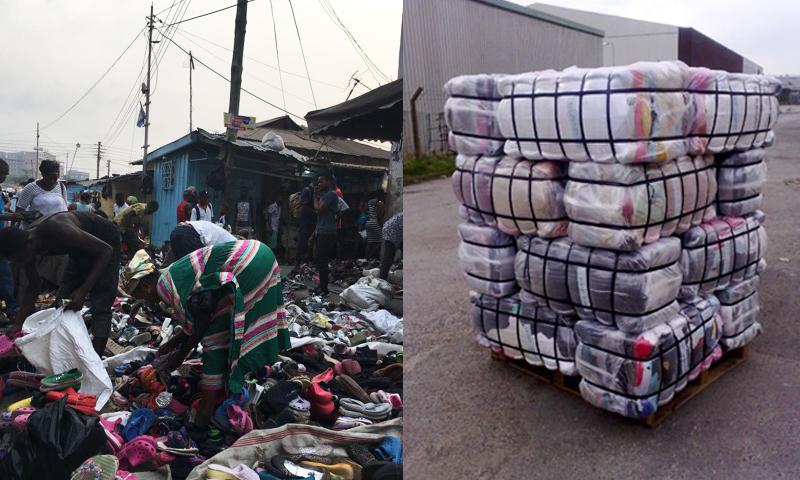 Menschen auf dem 2nd-Hand-Markt in Ghana, zu einem Paket verschnürte Kleidung
