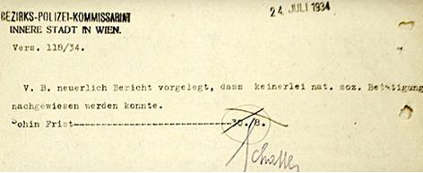 Bescheid der Wiener Polizei  - ein Tag vor dem Dollfuß-Attentat