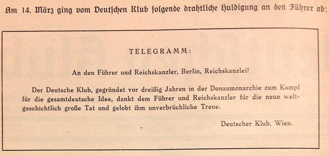"""Faksimile des Glückwunschtelegramms aus den """"Mitteilungen des Klubs"""""""