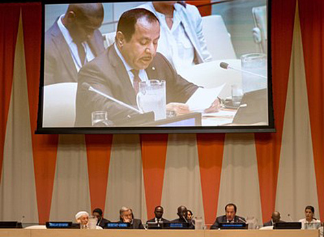 KAICIID Generalsekretär Faisal Bin Muaammar bei den UN (Vereinten Nationen) in New York, bei der Präsentation des Aktionsplan für Religionsführer gegen Gewalt
