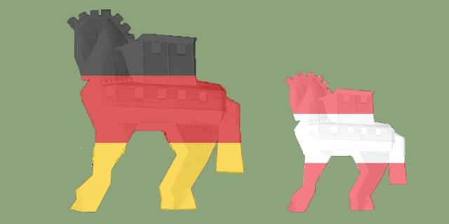 Zwei trojanische Pferde in deutschen und österreichischen Fahnen