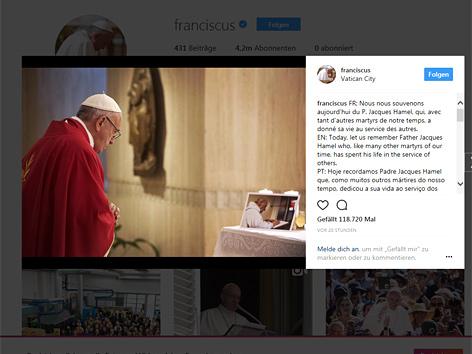 Screenshot der Instagram-Seite von Papst Franziskus