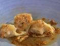 Rezept Wan Tan von der Seeforelle mit PfirsichDashi und  Laab Moo Sauce Gebratener Chinakohl in Red Oil