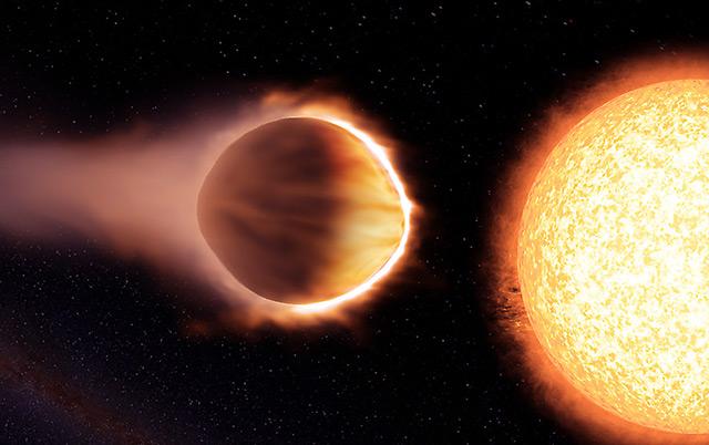Superhießer Exoplanet WASP-121b neben seiner Sonne