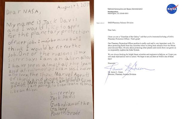 Brief eines Neunjährigen an die NASA und Antwort