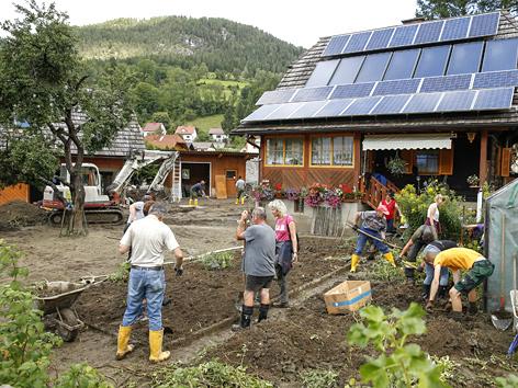 Aufräumarbeiten nach Unwettern und Murenabgängen in Oberwölz, Steiermark