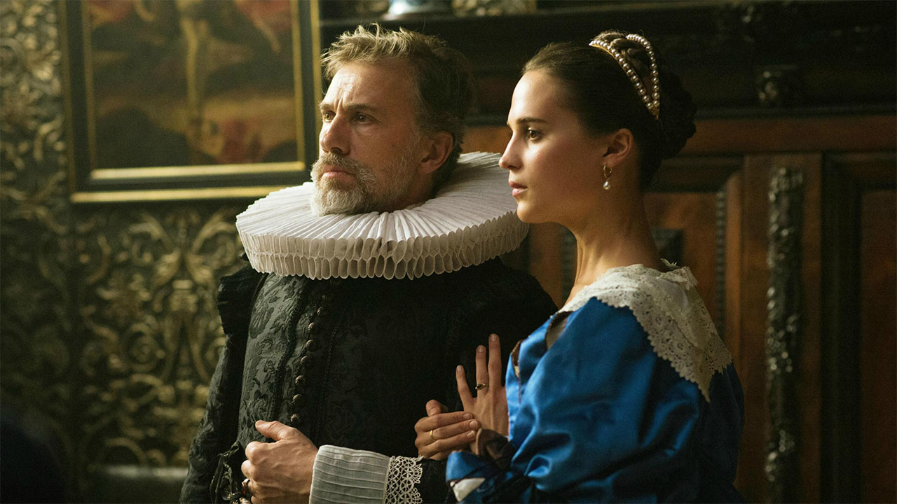 "Christoph Waltz und Alicia Vikander in ""Tulip Fever"""