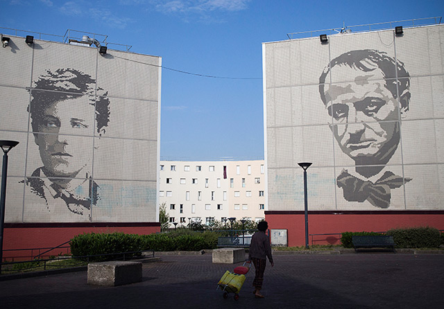 Baudelaire heute: Fresko im Pariser Vorort Chanteloup-les-Vignes neben seinem jüngeren Dichterkollegen Arthur Rimbaud