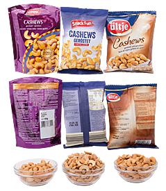 Packungen mit Cashews von drei Herstelllern
