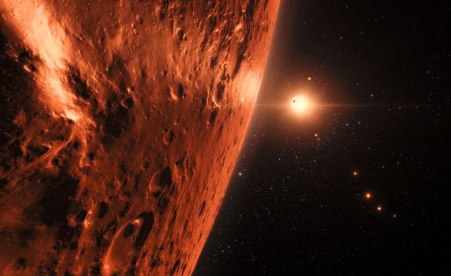 Künstlerische Darstellung: Auf der Oberfläche eines Planeten von Trappist-1