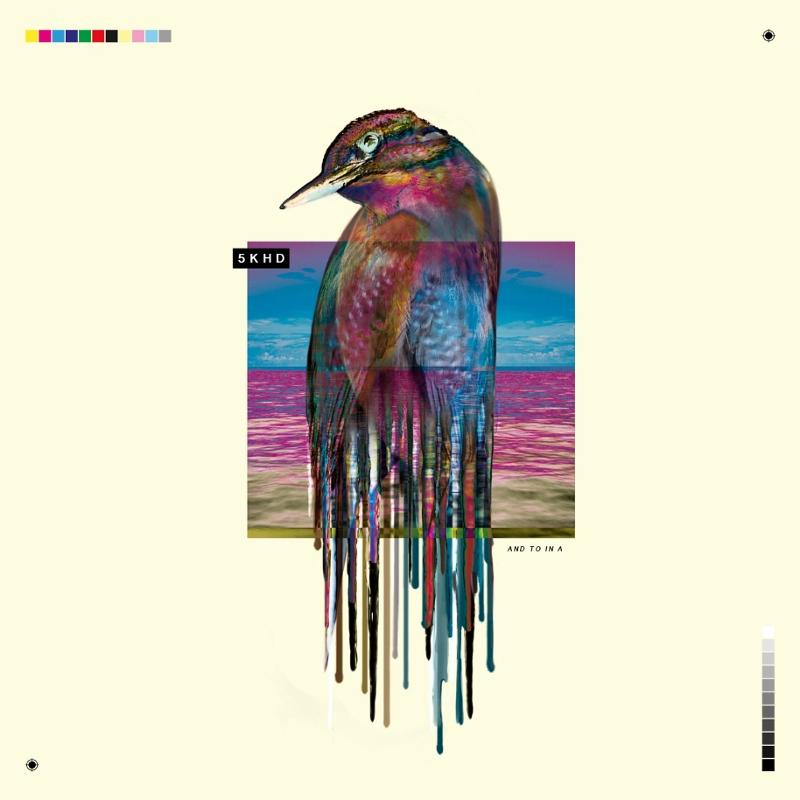 Albumcover von 5K HD mit einem Vogel, der nach unten hin in digitales Muster zerfließt