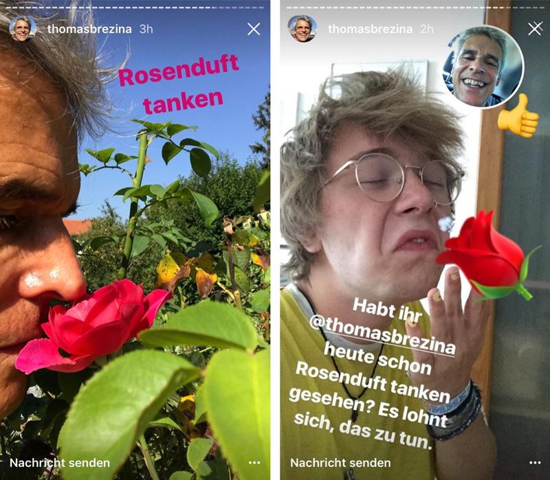 Screenshots von der Instagram-Seite von Thomas Brezina