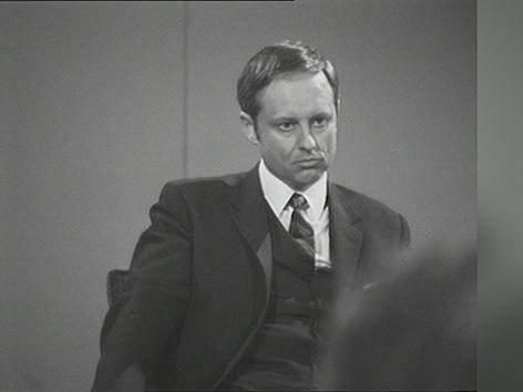 Hubert Feichtlbauer bei einer Diskussion im ORF zur NS-Vergangenheit eines SPÖ-Ministers im Mai 1970