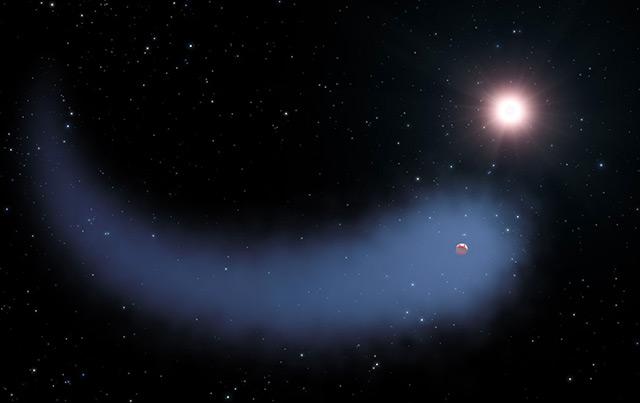 Planet mit Kometenschweif: Künstlerische Darstellung von Gliese 436b