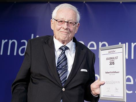 """Hubert Feichtlbauer, Preisträger für das Lebenswerk, im Jahr 2016, anlässlich der Verleihung der Auszeichnungen """"Journalisten des Jahres 2015"""" in Wien"""