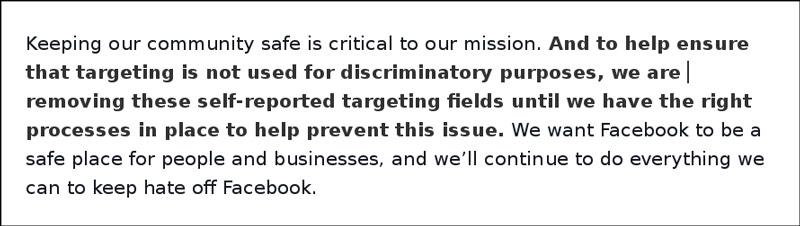 Facebook-Stellungnahme Screenshot