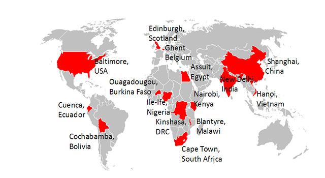 Weltkarte mit einigen markierten Ländern