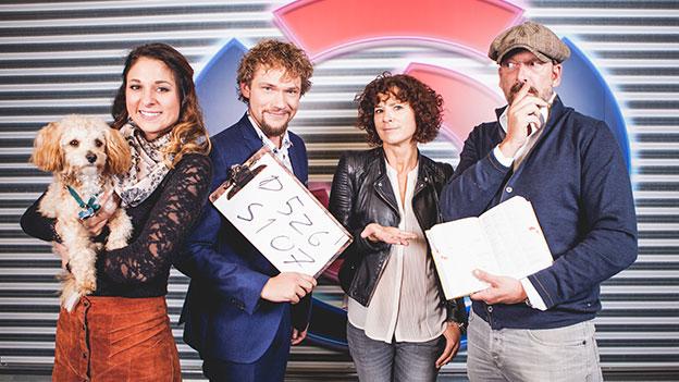 Amelie van Tass, Thommy Ten, Sandra König und Robert Kratky lachen