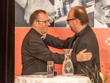 Der designierte Innsbrucker Bischof Hermann Glettler und Diözesanadministrator Jakob Bürgler  bei Glettlers Antrittspressekonferenz