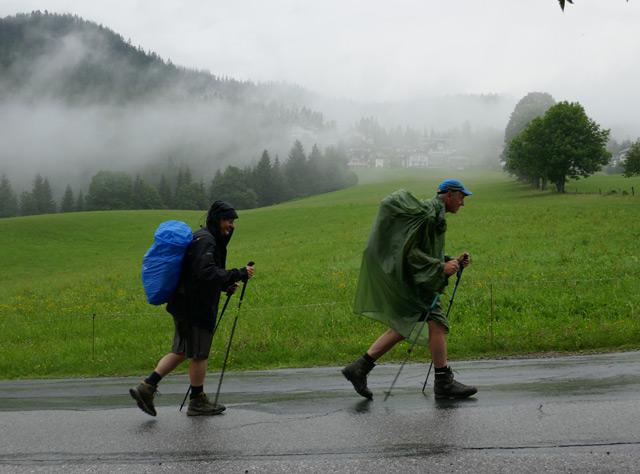 Wanderer bei Regenwetter