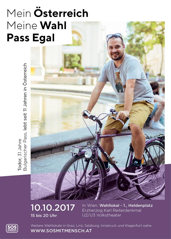 Todor auf einem Werbesujet für die Pass-Egal-Wahl