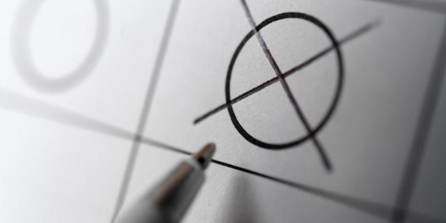 Kreuz auf Wahlzettel