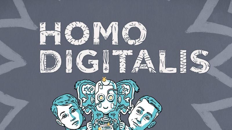 Schriftzug von Homo Digitalis mit gezeichneten Figuren