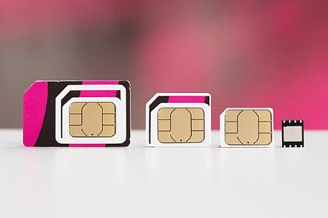 Mini-, Micro-, Nano- und E-SIM im Größenvergleich