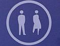 Frauen- und Männerzeichen auf lila Hintergrund