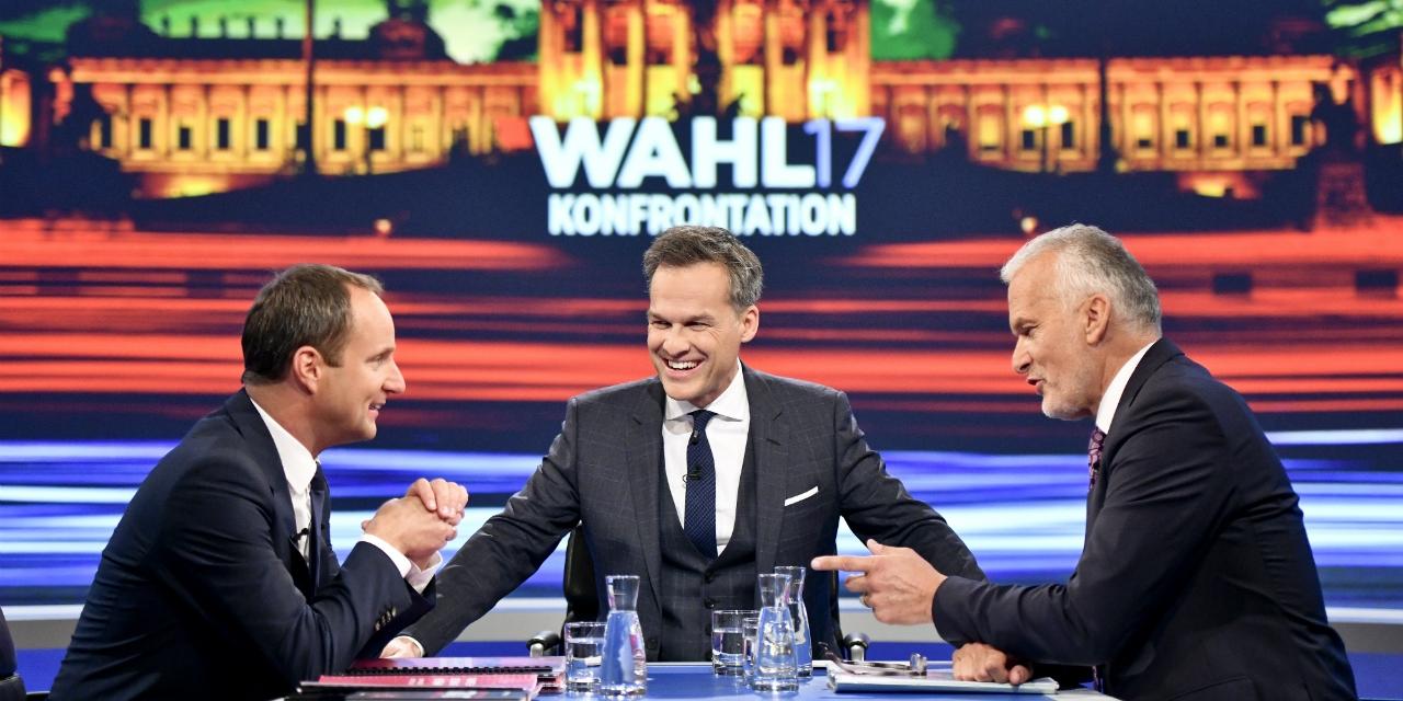 ÖVP-Kandidat Josef Moser (R), Moderator Tarek Leitner (M) und Neos-Spitzenkandidat Matthias Strolz in der ORF-Wahlkonfrontation.