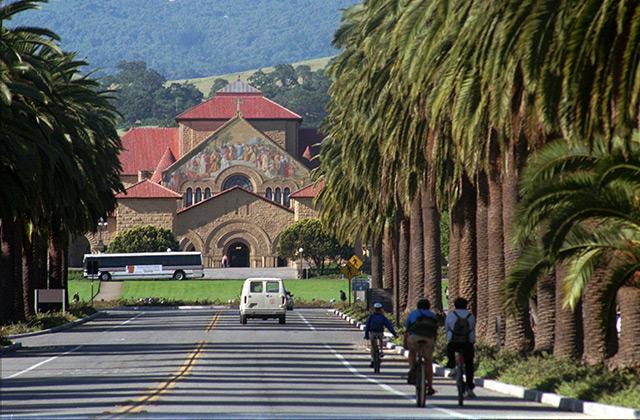 Radfahrer auf dem Palm Drive vor dem Campus der Stanford University in Palo Alto, Kalifornien